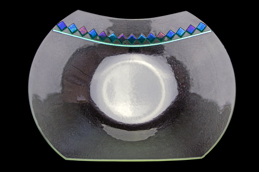 Clear Fused Glass Bowl with Diamond Accents