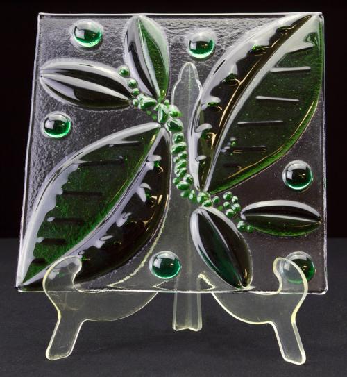 Fused Glass Leaf Plate Tile Tampa Florida