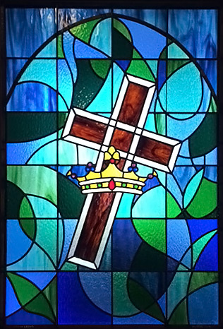 Stained Glass Cross and Crown Church Window