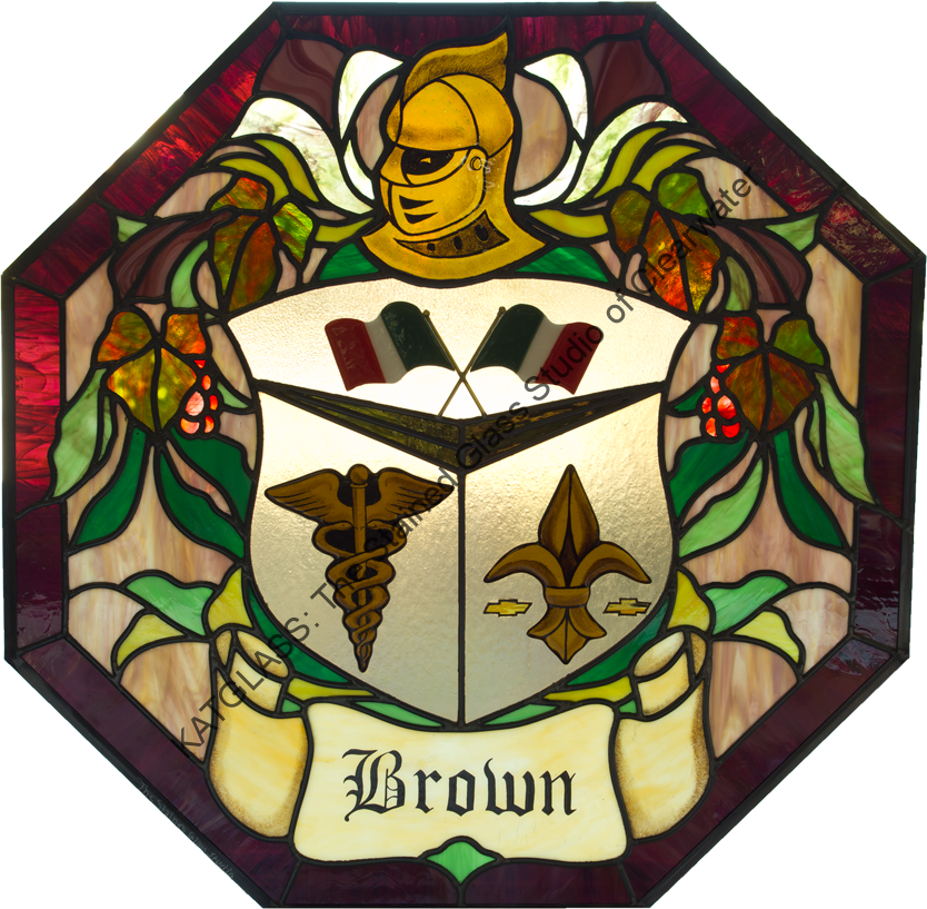 Custom Designed Family Crest Stained Glass Window