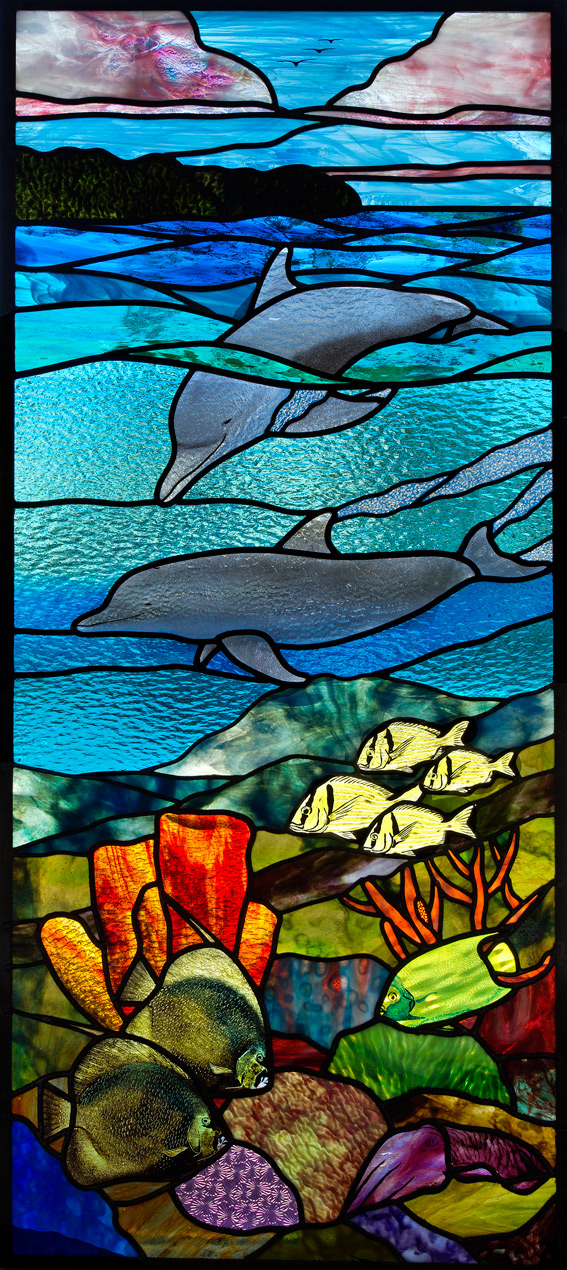 Coral Reef Dolphin Stained Glass Door Clearwater Beach Florida