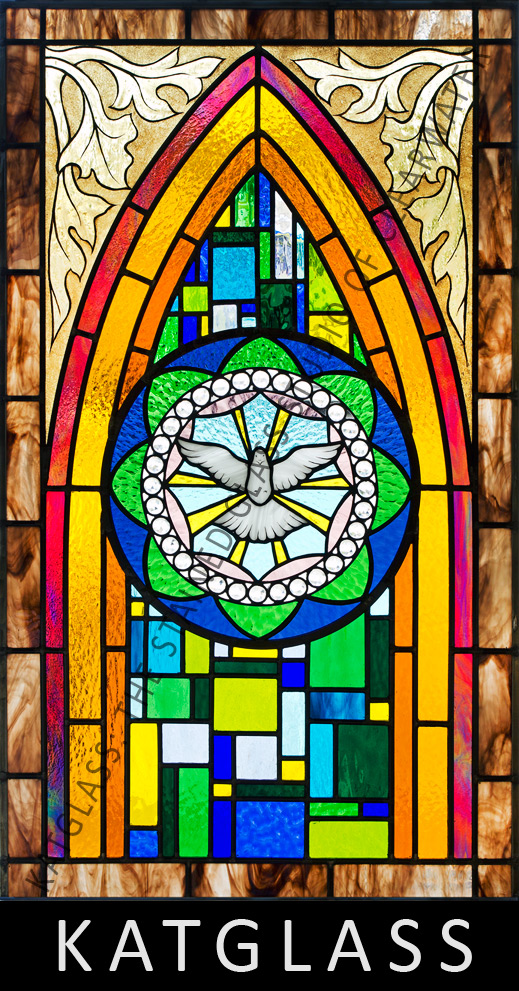 Garden of eden stained glass church window for Stained glass window church