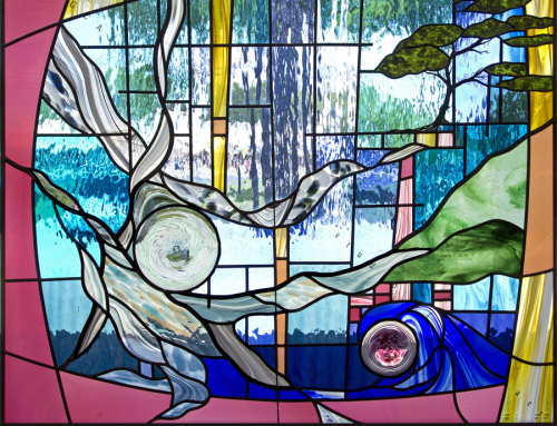Running horses stained glass panel for Contemporary stained glass