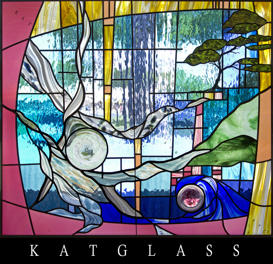 Earth wind and fire contemporary stained glass window for Contemporary stained glass