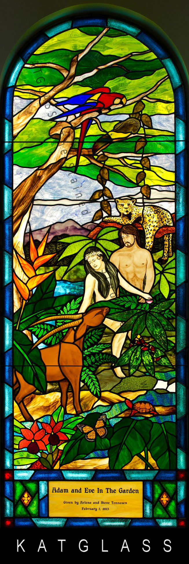 Garden Of Eden Stained Glass Church Window