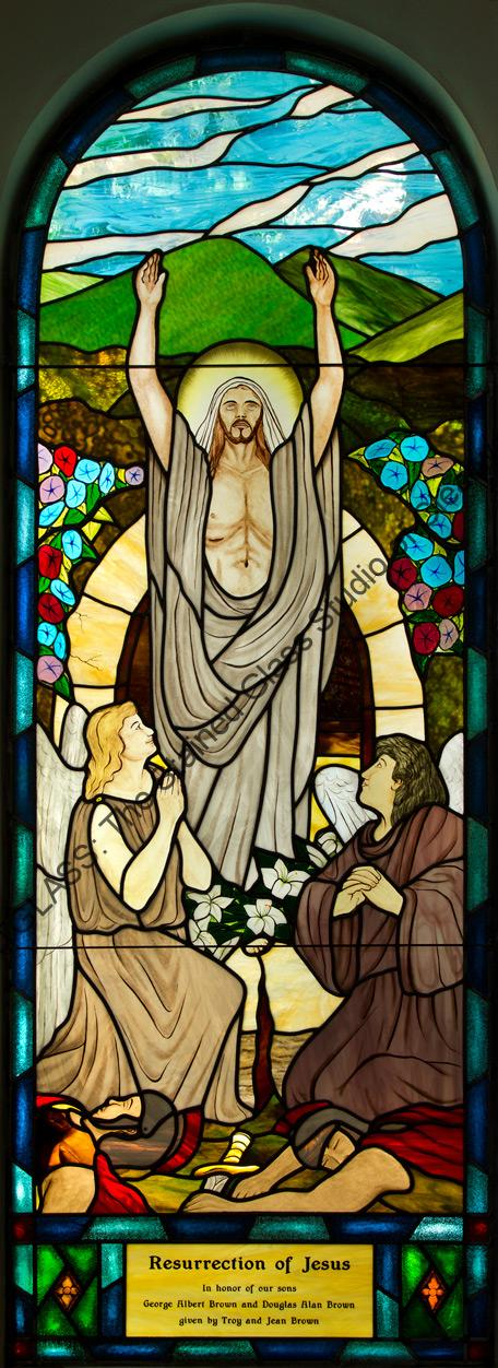 Resurrection of JESUS Stained Glass Church Window