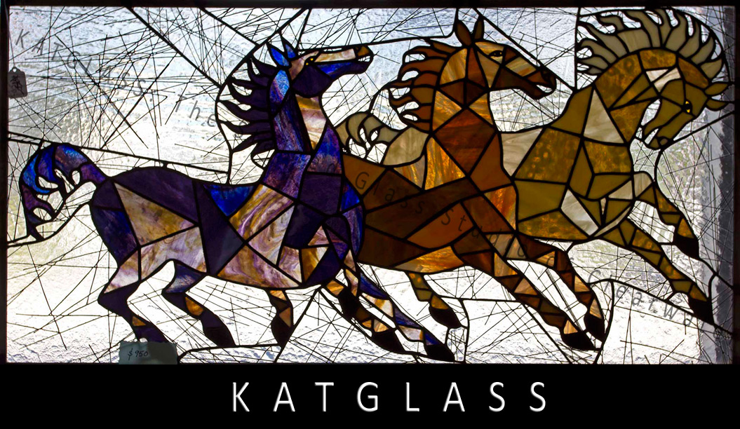 Running-Horses-Stained-Glass-Panel-water