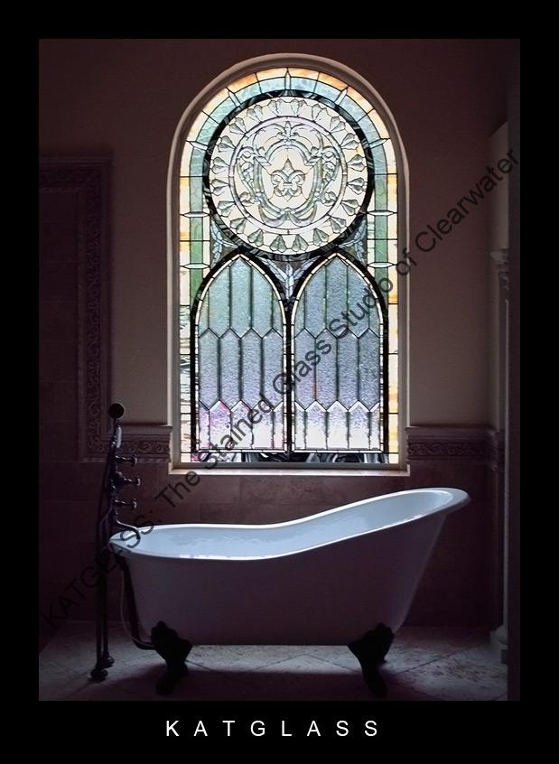 Custom Designed Stained Glass Bathroom Windows