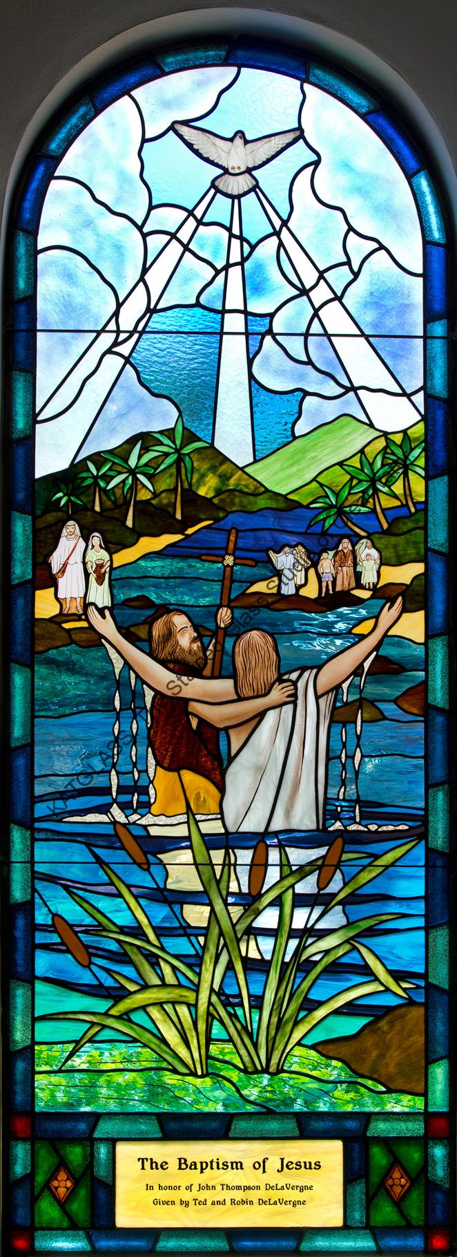 Baptism Of JESUS Stained Glass Church Window