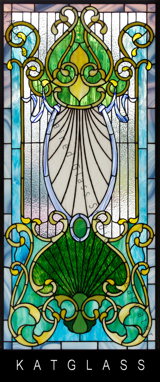 Victorian-Design-Stained-Glass-Door-water