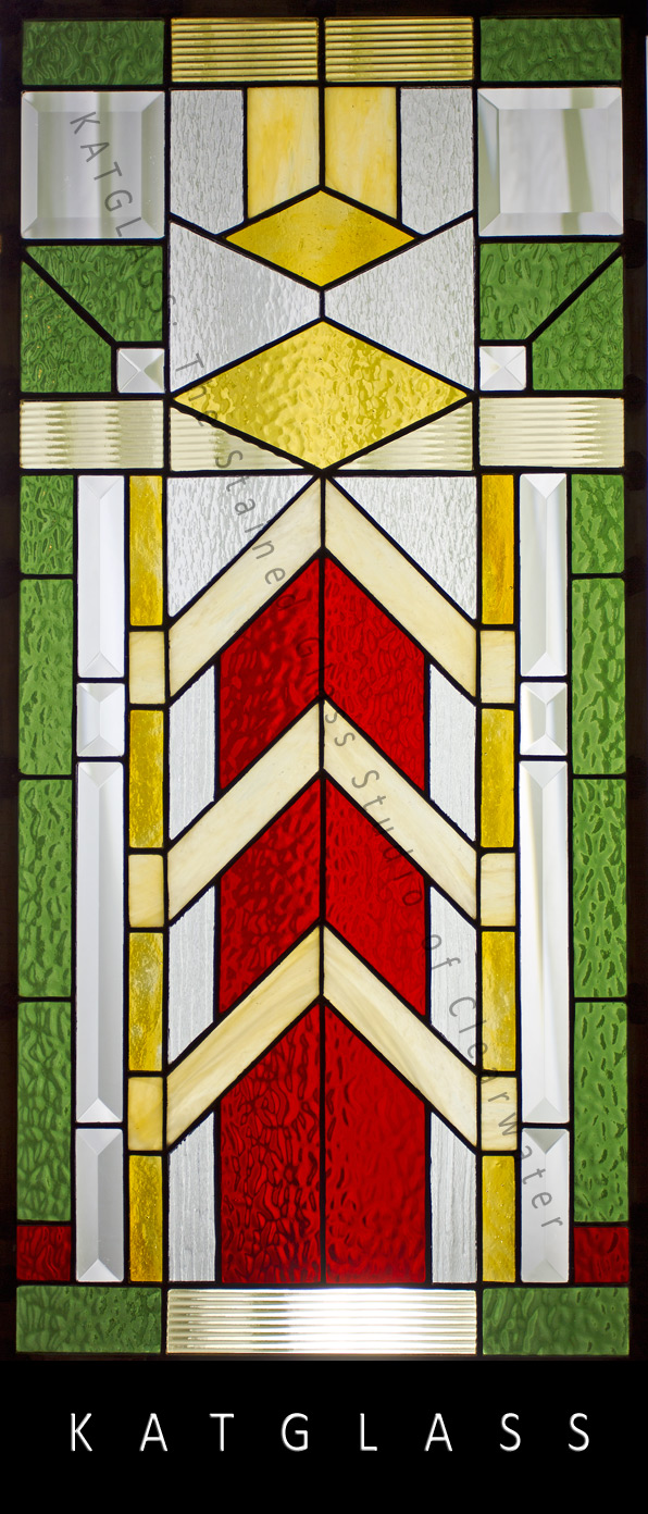 frank loyd wright inspired stained glass window panel