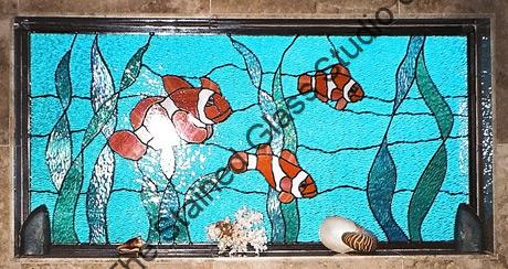 Clown Fish Residential Stained Glass Panel