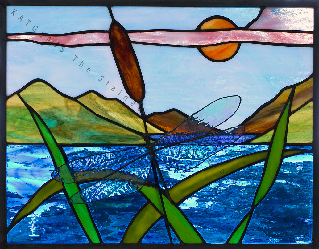 Dragonfly Fly By Lake 3d Stained Glass Window Panel