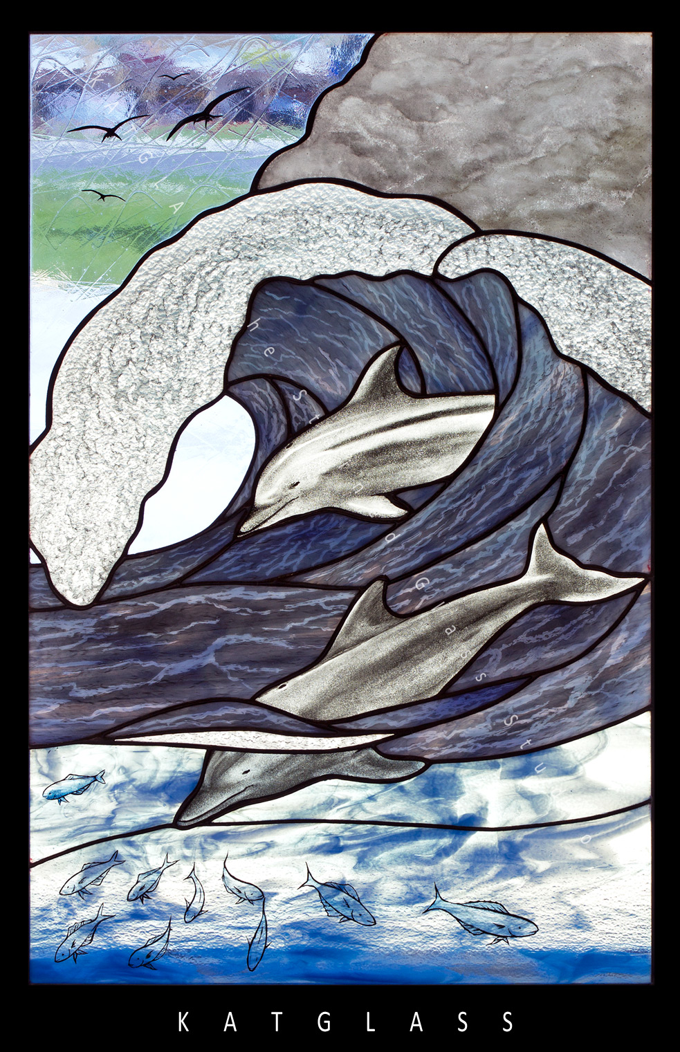 Dolphin-in-Waves-Stained-Glass-Panel