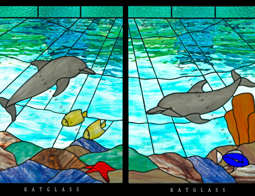 Stained Glass Dolphin Panels