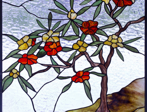 Stylized Rhododendron stained glass window panel
